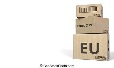 Falling cartons with PRODUCT OF EU text. 3D animation -...