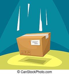 falling cartoon parcel carton box