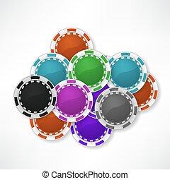 Falling casino chips background, illustration, poker, gambling.