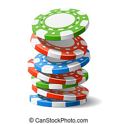 Falling casino chips vector illustration