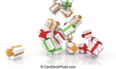 Falling Christmas gift boxes