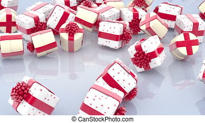 Falling Christmas gift boxes with red bows and ribbons