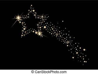 Falling Christmas star, fancy design, golden stars. New Year...