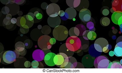 Falling circles in various colors on black