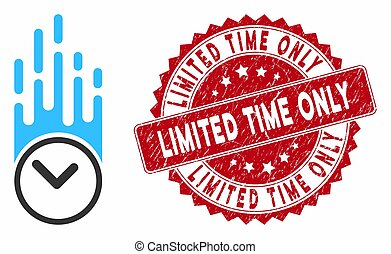 Falling Clock Icon with Grunge Limited Time Only Seal