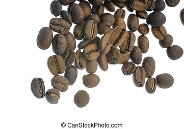 falling coffee beans - Roasted beans of Coffea arabica...