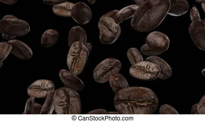 Falling coffee grains on a black background