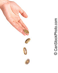 Falling coins from hand