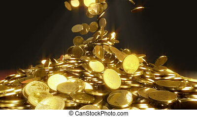 Falling coins. - High quality animation of falling coins. ...