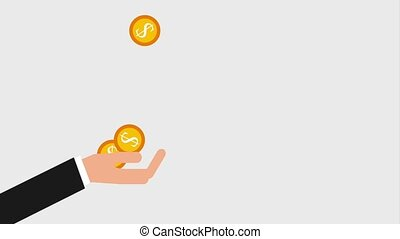falling coins money in hand business