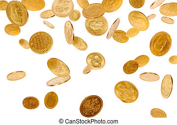 Falling Coins - Old gold coins isolated on white background