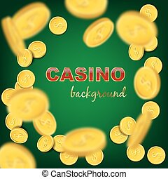 Falling coins on green background. Vector casino background.