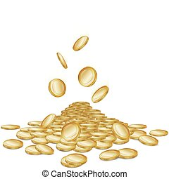 Falling coins - Rain of falling gold money coins on white,...