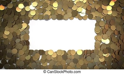 Falling Coins with Alpha Matte Pass forming Rectangular Spot for Your Sign