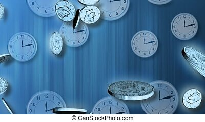 Falling coins with clocks in the background
