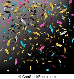Falling color confetti on dark background. Vector holiday illustration.