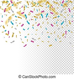 Falling color confetti on transparent background. Vector holiday illustration.