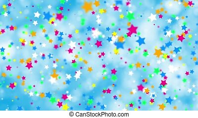 Falling color stars on a blue background