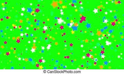 Falling color stars on a green background