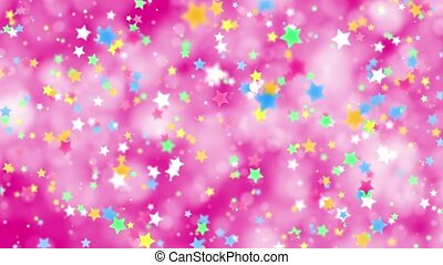Falling color stars on a pink background