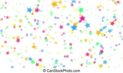 Falling color stars on a white background