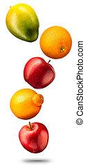 Falling colorful fruits on white background - Falling fruits...
