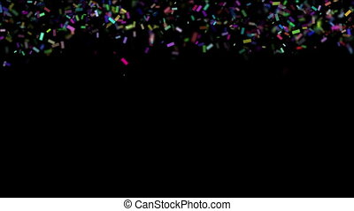 Falling colorful realistic confetti with alpha channel