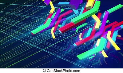 """Falling colorful zigzag techno bars"" - ""Astonishing 3d..."