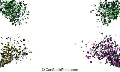 Falling confetti on the white background