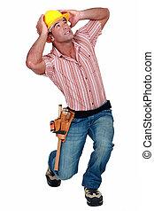 falling., costruzione, timoroso, lavoratore, qualcosa