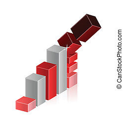 Falling Crisis Business Bar Chart Diagram illustration...