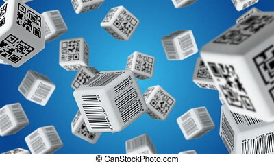 Sale - Falling cubes with QR code and barcode labels. Sale...