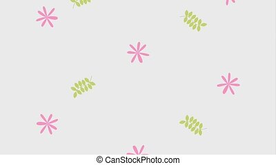falling daisies flowers leaves foliage floral animation hd