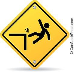Falling danger vector sign