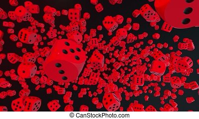 Falling dice in red on black