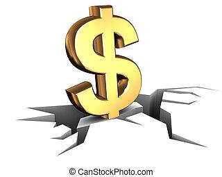 falling dollar - 3d illustration of dollar sign on grou8nd...