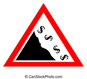 Falling dollar currency concept sign