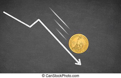 Falling Dollar money cash.