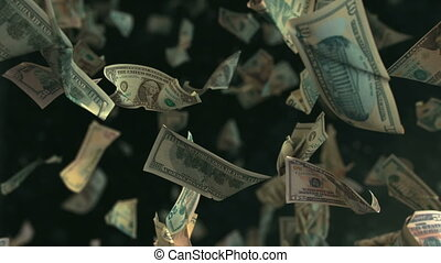 Falling Dollar money in slow motion 4K Loopable