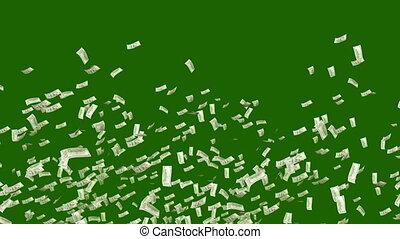 """""""Falling Dollars in the Dark Green Backdrop"""" - """"A wealthy 3d..."""