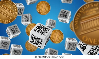 Sale - Falling down coins and cubes with QR code labels....