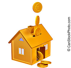 falling down euro coins to the money box - falling down euro...