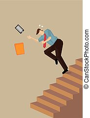 Falling Down on Staircase Vector Illustration