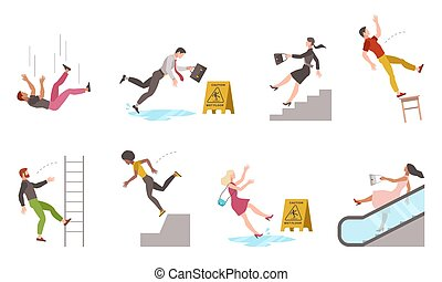 Falling down people. Tripping on stairs and drop from altitude, slipping wet floor, person injury, dangerous dropping from chair and ladder, accident vector flat cartoon isolated unbalanced characters
