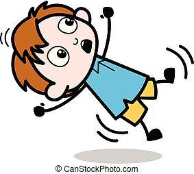 Falling Down - School Boy Cartoon Character Vector Illustration
