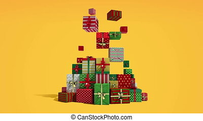 Falling down shape of christmas tree and gifts(included alpha