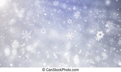 Falling down White Blue Smooth slow motion snowflakes effect...
