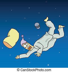 Falling Dream - Poor man falling in his sleep.