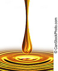 falling drop of oil on a white background