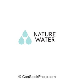 Falling drops icon. Clean water logo template. Rainy weather...